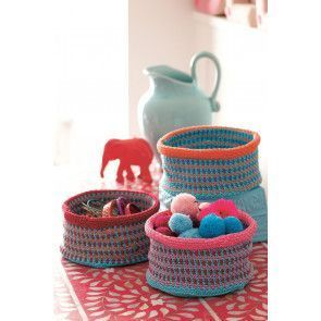 Colourful crocheted pots
