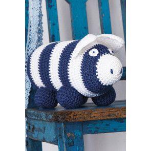Crocheted stripy piggy bank
