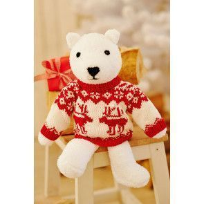 Toy knitted polar bear with long-sleeved reindeer jumper
