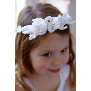 White crocheted floral wedding head garland for flower girl