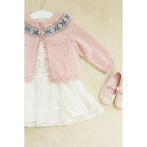 Pink knitted girl's cardigan with Fair Isle yoke