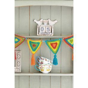 Crocheted string of rainbow bunting