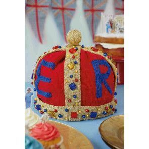 Knitted crown fit for a queen with in red, blue and gold