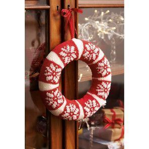 Knitted Scandinavian red and white circular Christmas wreath