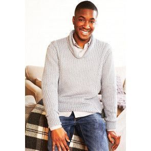 Man's retro knitted jumper with shawl collar and long sleeves