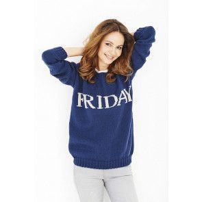 Ladies navy knitted jumper with Friday written across front