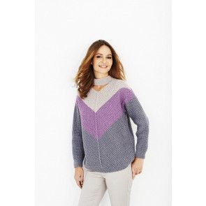 ladies sweater with chevron design in three colours