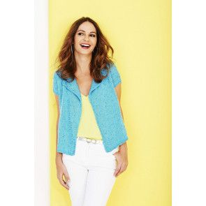 short sleeved knitted edge to edge cardigan in blue