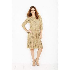 gold vintage style tie waist dress crochet pattern