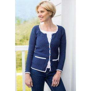 Crocheted women's cardigan featuring a white trim