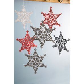 Suspended crocheted stiff snowflakes in red, white and grey