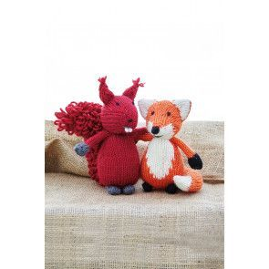 Knitted squirrel toy with bushy tail and fox toy friend