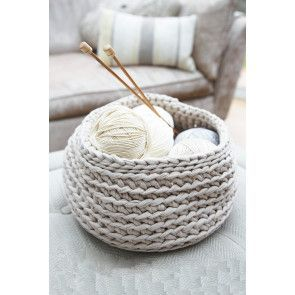 Large crocheted storage bowl in thick yarn