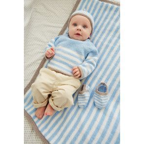 Blue and white knitted baby set