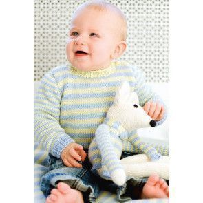 Striped baby jumper with matching blanket and mouse toy