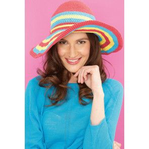 Crocheted multi-colour sun hat for women with wide brim