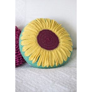 Round sunflower motif cushion