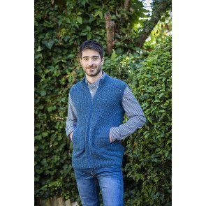 Men's knitting pattern for zip up gilet waistcoat in blue
