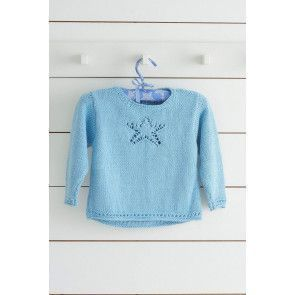blue round neck jumper with star motif design knitting pattern