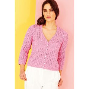 Crocheted V-neck button-up lace cardigan