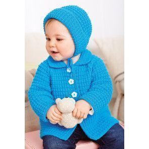 Blue knitted vintage baby jacket and bonnet