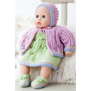 Doll in retro knitted pink and green head-to-toe outfit from 1941