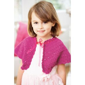 Vintage crocheted cape for girls in fuchsia