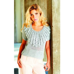 Vintage crochet top for women with frilly detail