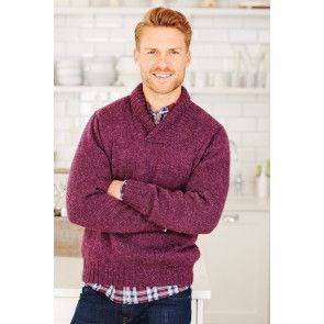 Vintage men's knitted jumper with shawl collar