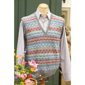 Retro Fair Isle sleeveless knitted V-neck jumper for men