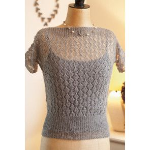 Lace knitted retro top with short sleeves and slash neckline from 1948