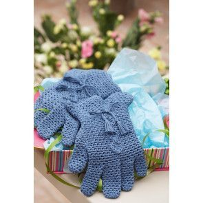 Retro crocheted pair of blue gloves with tassels around wrist