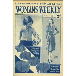 Cover of 1940s Woman's Weekly featuring retro children's long-sleeve cardigan knitting pattern