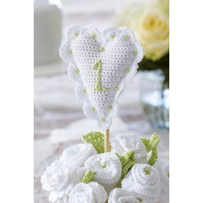 Crocheted heart wedding table decoration