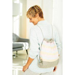 Striped ladies' knitted drawstring bag