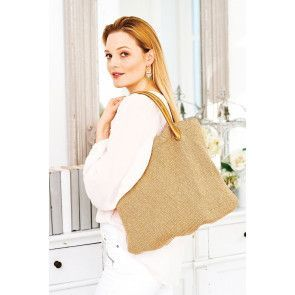 Ladies' over-the-shoulder tote-style bag knitted in gold yarn