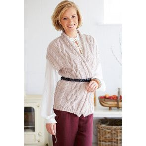 Knitted cable crossover ladies' waistcoat jumper secured with a belt