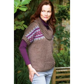 Knitted fair isle cowl neck top for ladies