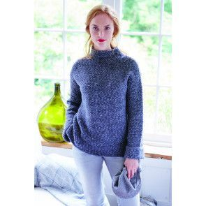 Women's knitted sweater with a funnel neck