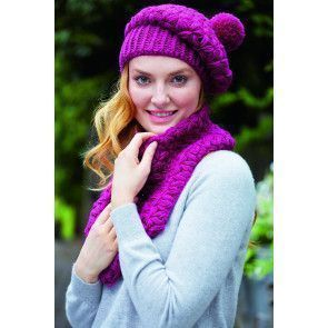 Magenta crocheted ladies' snood and matching hat