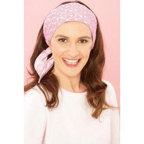Crocheted ladies' headband in pretty pink