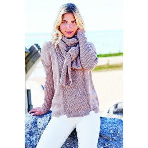 Brown knitted ladies' jumper with matching scarf