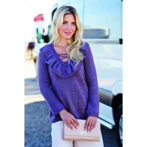 Ladies' knitted sweater with V-neck and ruffles