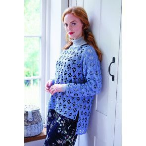 Ladies' lace effect crocheted top with long sleeves
