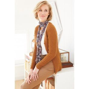 Ladies' long knitted cardigan with fine ribbing texture
