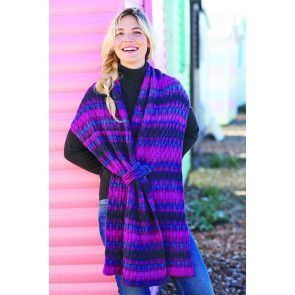 Ladies' long scarf knitted with stripes and a loop