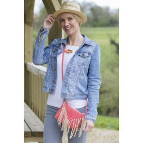 Ladies' small shoulder bag decorated with tassels