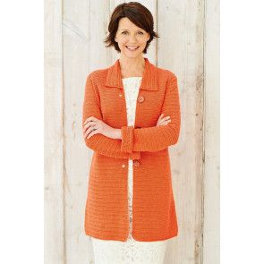 Crocheted long-sleeved ladies' coat with buttoned front and neat collar