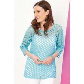 Crocheted three-quarter sleeve openwork top for women