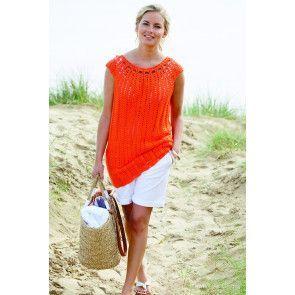 Ladies' short-sleeved crochet top with scoop neck